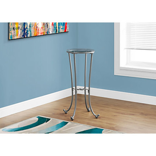 Monarch Specialties Plant Accent Table, Round, Clear/Silver
