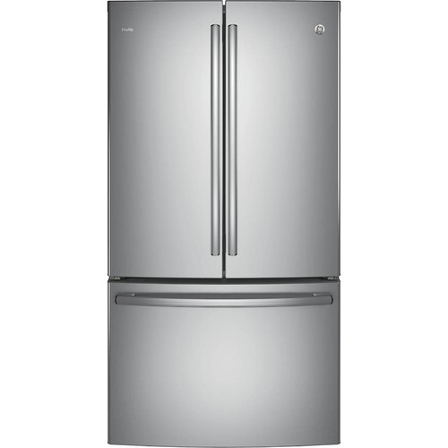 GE - Profile Series 23.1 Cu. Ft. French Door Counter-Depth Refrigerator - Stainless steel