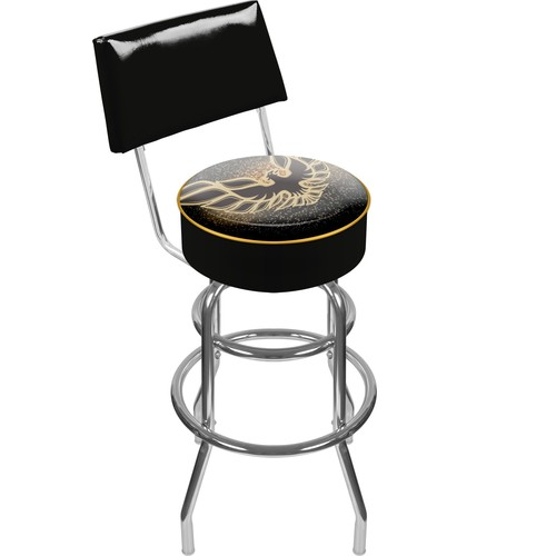 Firebird Black Padded Swivel Bar Stool with Back