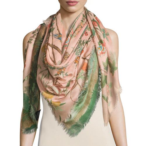 GUCCI Tree Of Life Wool & Silk Shawl, Rose