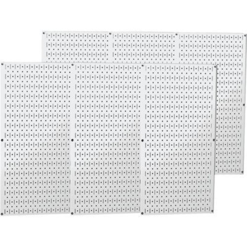 Wall Control Industrial Metal Pegboard - White, Six 16in. x 32in. Panels, Model# 35-P-3296WH