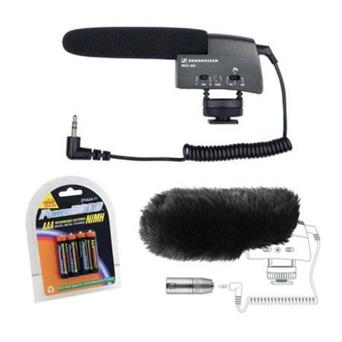 Sennheiser Compact Shotgun Microphone Camera Mountable With Windscreen Bundle MKE400 A