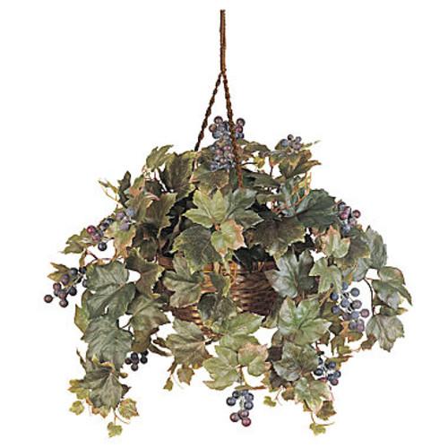 Nearly Natural Grape Leaf Hanging Basket Silk Plant