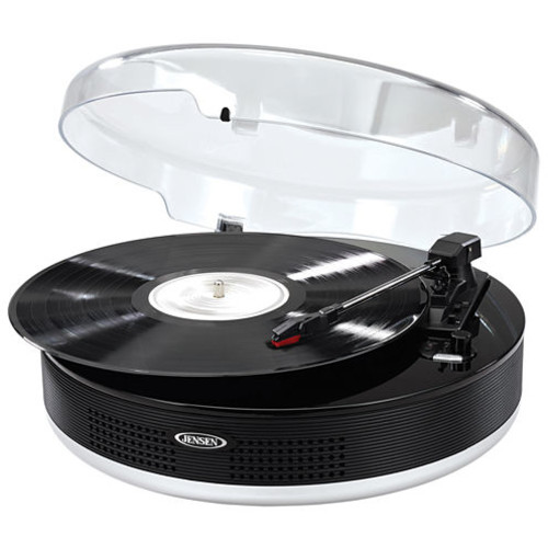 Jensen 3-speed Stereo Turntable With Metal Tone Arm And Bluetooth Transmit - Belt Drive - 78, 45, 33.33 Rpm - Piano Black (jta-455)