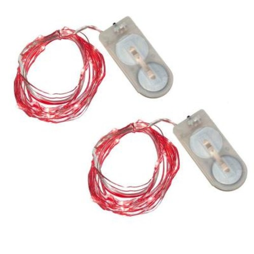 Lumabase 40-Light Mini Battery Operated Waterproof String Lights in Red (2-Count)