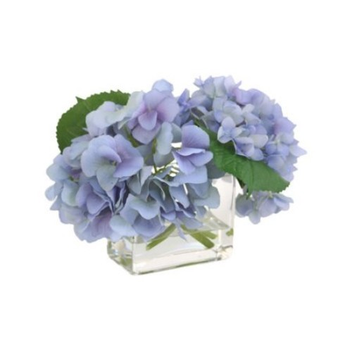 Distinctive Designs Waterlook Silk Hydrangeas in Glass Vase
