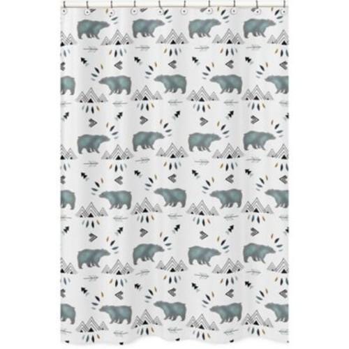 Sweet Jojo Designs Bear Mountain Shower Curtain in Blue/Black