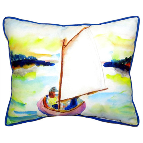 Pink Sailboat Multicolored Indoor/Outdoor Throw Pillow