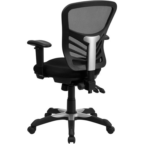 Flash Furniture Mid-Back Black Mesh Multifunction Executive Swivel Chair with Adjustable Arms [Black]