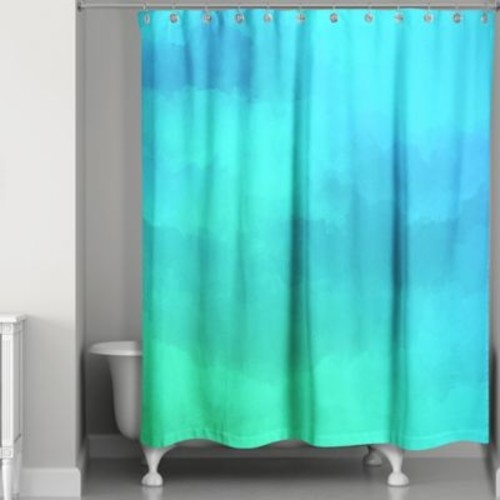 Watercolor Waterlife Shower Curtain in Blue/Green