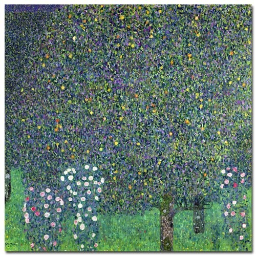 Roses Under the Trees 1905 by Gustav Klimt, 18x18-Inch Canvas Wall Art [18 by 18-Inch]