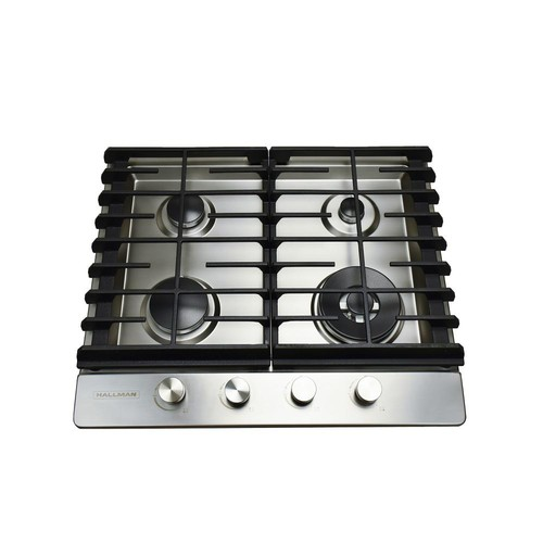 Hallman 24 in. Gas Cooktop in Stainless Steel with 4 Burners including a Tri-Ring Power Burner