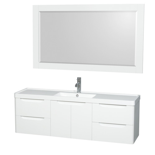Wyndham Collection Murano 60-inch Acrylic-Resin Countertop Single Vanity Sink includes 58-inch Mirror [Finish : Grey Finish]