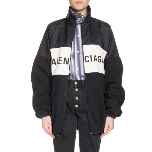 Nylon and Denim Logo Zip-Front Jacket