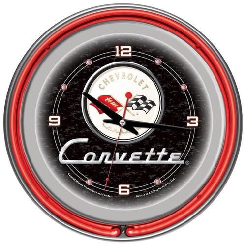 Trademark Global Corvette C1 Neon Clock - 14 inch Diameter - Black