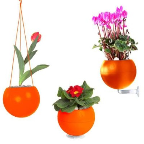 Greenbo 7 in. x 6 in. x 7 in. Orange Plastic, Table, Wall and Ceiling Planter (3-Pack)