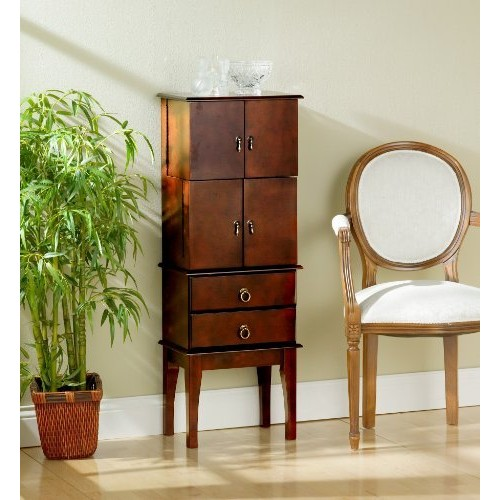 Southern Enterprises Jewelry Armoire, Cherry Finish with Felt Lined Drawers [Cherry]