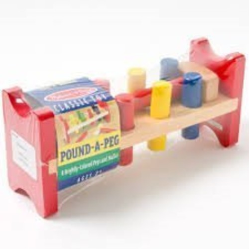Melissa & Doug Deluxe Wooden Pound-A-Peg Toy With Hammer [Standard Version]
