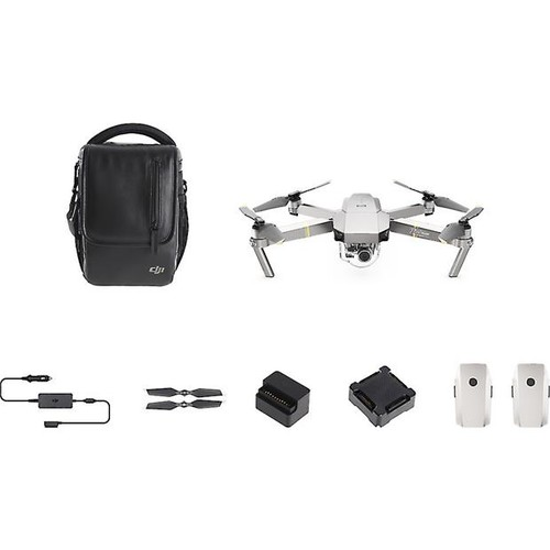 DJI Mavic Pro Platinum Fly More Combo Aerial drone with gimbal-mounted 4K camera, remote control, shoulder bag, charger and three batteries