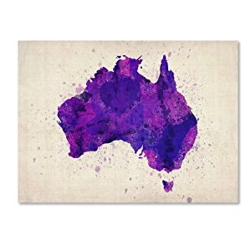 Australia Paint Splashes Map by Michael Tompsett work, 14 by 19-Inch Canvas Wall Art [14 by 19-Inch]