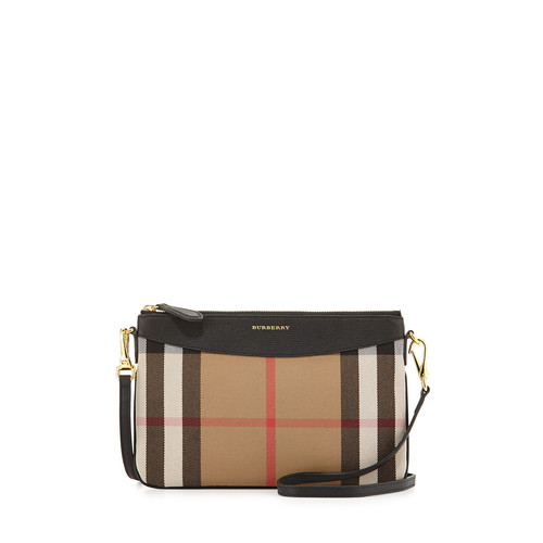 BURBERRY House Check Crossbody Bag, Black