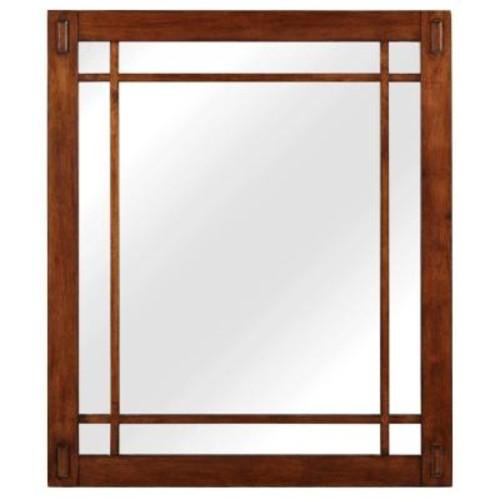 Home Decorators Collection Artisan 26 in. W x 30 in. H Framed Single Wall Mirror in Dark Oak
