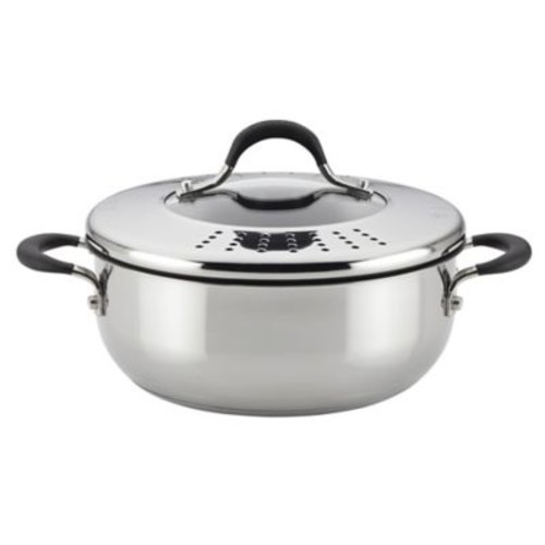 Circulon Momentum Stainless Steel Nonstick 4 qt. Covered Casserole with Locking Lid