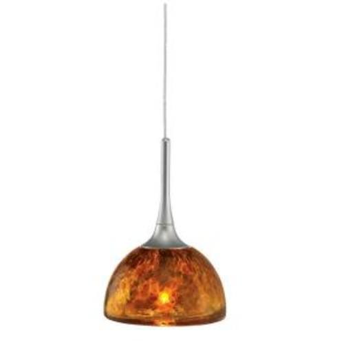 LBL Lighting Sophia Coax 1-Light Amber Satin Nickel Hanging Mini Pendant