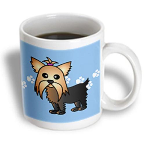 3dRose - Janna Salak Designs Dogs - Cute Yorkshire Terrier Yorkie Blue with Paw Prints - 11 oz mug