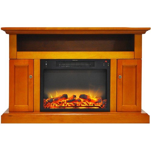Cambridge Sorrento Electric Fireplace with Stand and Enhanced Log Display, Teak
