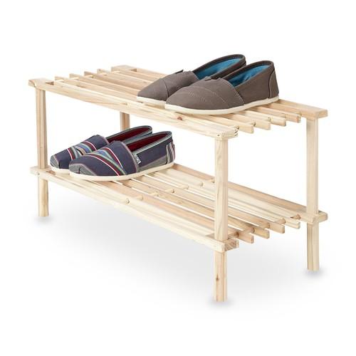 Essential Home 2-Tier Stackable Wooden Shelves