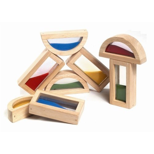 Guidecraft Rainbow Blocks - Sand, Kids Learning & Educational Toys, Stacking Blocks [Multicolor, None]