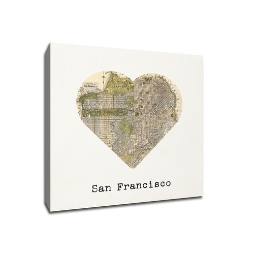 San Francisco - City Map to My Heart - 20x20 Gallery Wrapped Canvas Wall Art