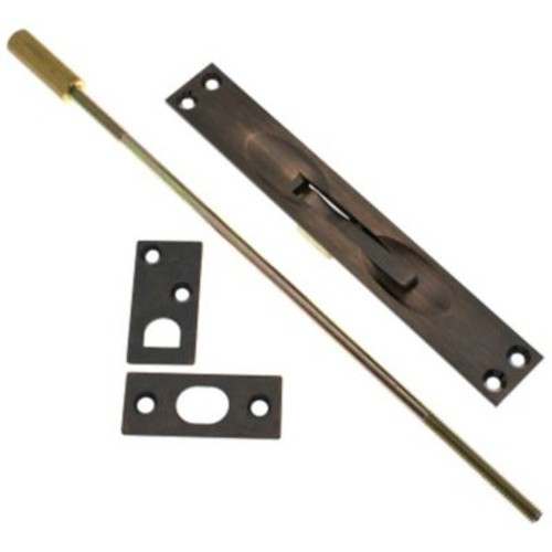 idh by St. Simons Solid Brass Extension Flush Bolt; Antique Copper