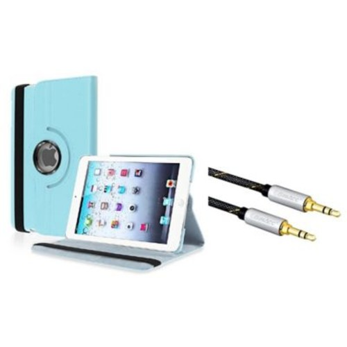 Insten 360-degree Swivel Leather Case For iPad Mini 3 2 1 - Light Blue (+ 3.5mm Universal Audio Extension Cable)