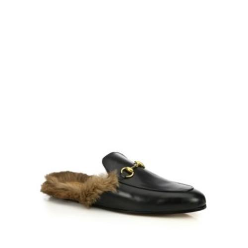 GUCCI Princetown Leather & Fur Loafer Slides