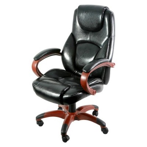 Executive Chair Black Bonded Leather with Brown Accents - Z-Line