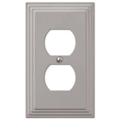 Hampton Bay Tiered 1 Duplex Outlet Plate - Satin Nickel Cast