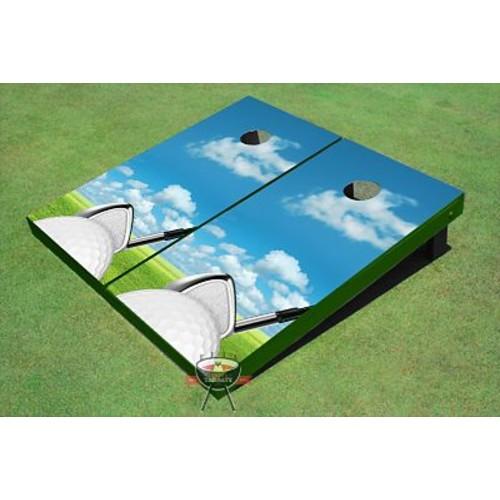 All American Tailgate Golf Ball Square Up Cornhole Board (Set of 2)