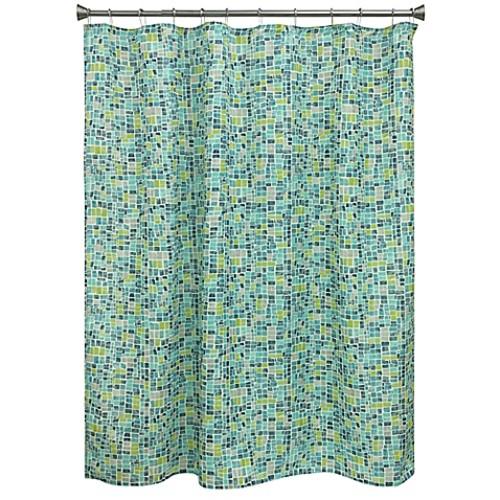 Bacova Mosaic Tile Shower Curtain in Blue/Green