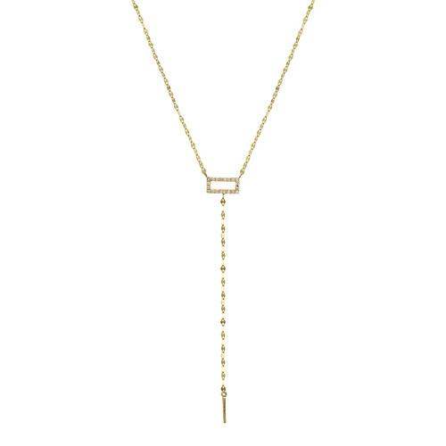 Mini Diamond Rectangle Lariat Necklace