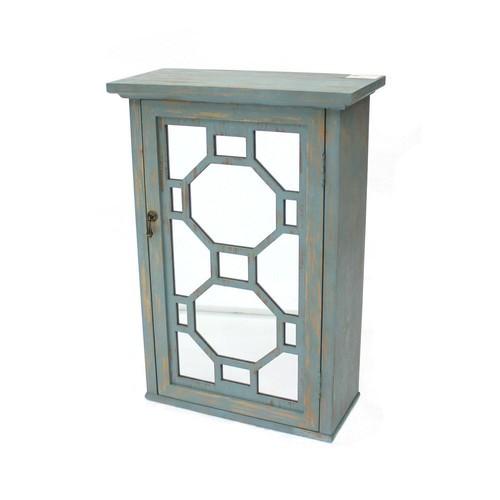 Blue Wood Mirror Storage Cabinet