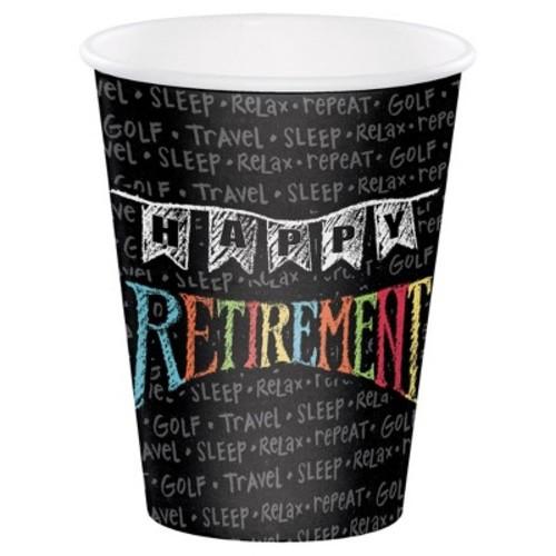 Retirement Chalk 12 oz Cups, 8pk
