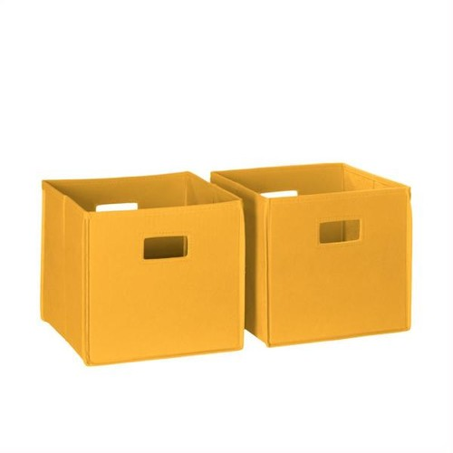 RiverRidge Home 10.5 in. x 10 in. Folding Storage Bin Set in Yellow (2-Piece)