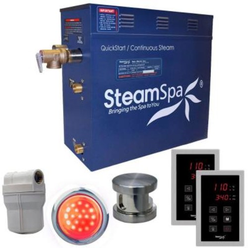 SteamSpa Royal 4.5kW QuickStart Steam Bath Generator Package in Polished Brushed Nickel