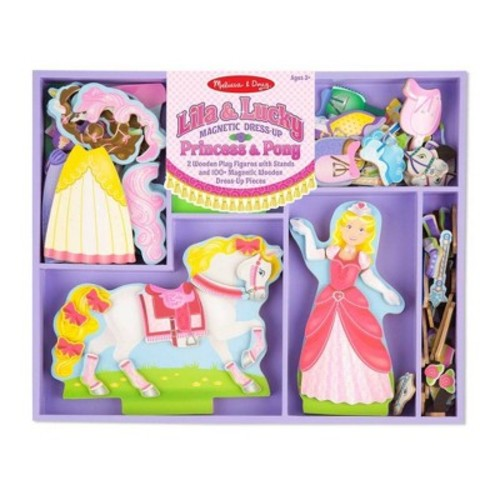 Melissa & Doug Lila and Lucky Wooden Dress-Up Princess Doll and Horse With Magnetic Accessories (108pc)
