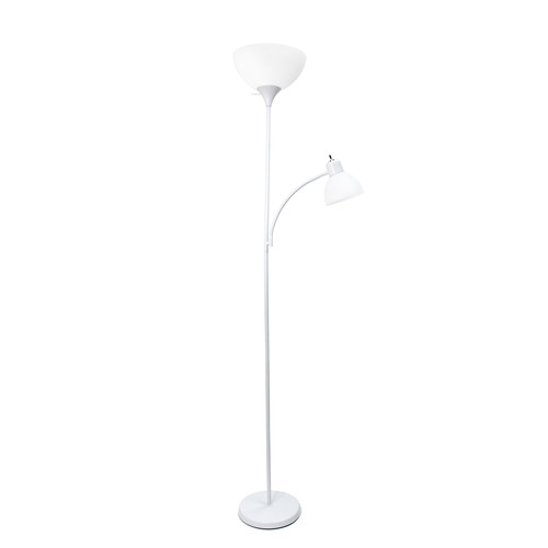Simple Designs White Floor Lamp with Reading Light