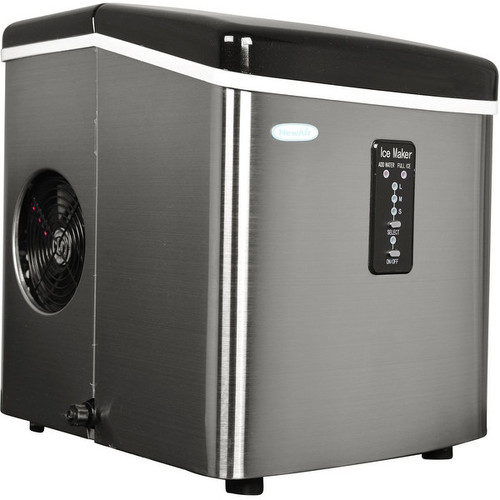 Air AI-100SS 28-Pound Portable Ice Maker - Stainless Steel - stainless steel & black