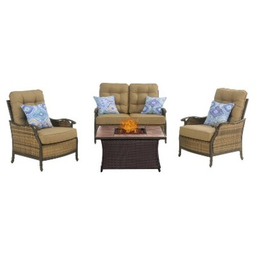Hanover HUDSQ4PCFP-TN 4 Piece Hudson Square Lounge Set with a Fire Pit Table [Stone Top Fire Pit]