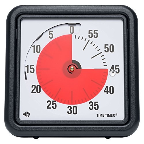 Time Timer Original 8 inch; 60 Minute Visual Analog Timer; Optional (On/Off) Alert; Silent Operation (No Ticking); Time Management Tool for Kids, Students, Special Needs, and Adults
